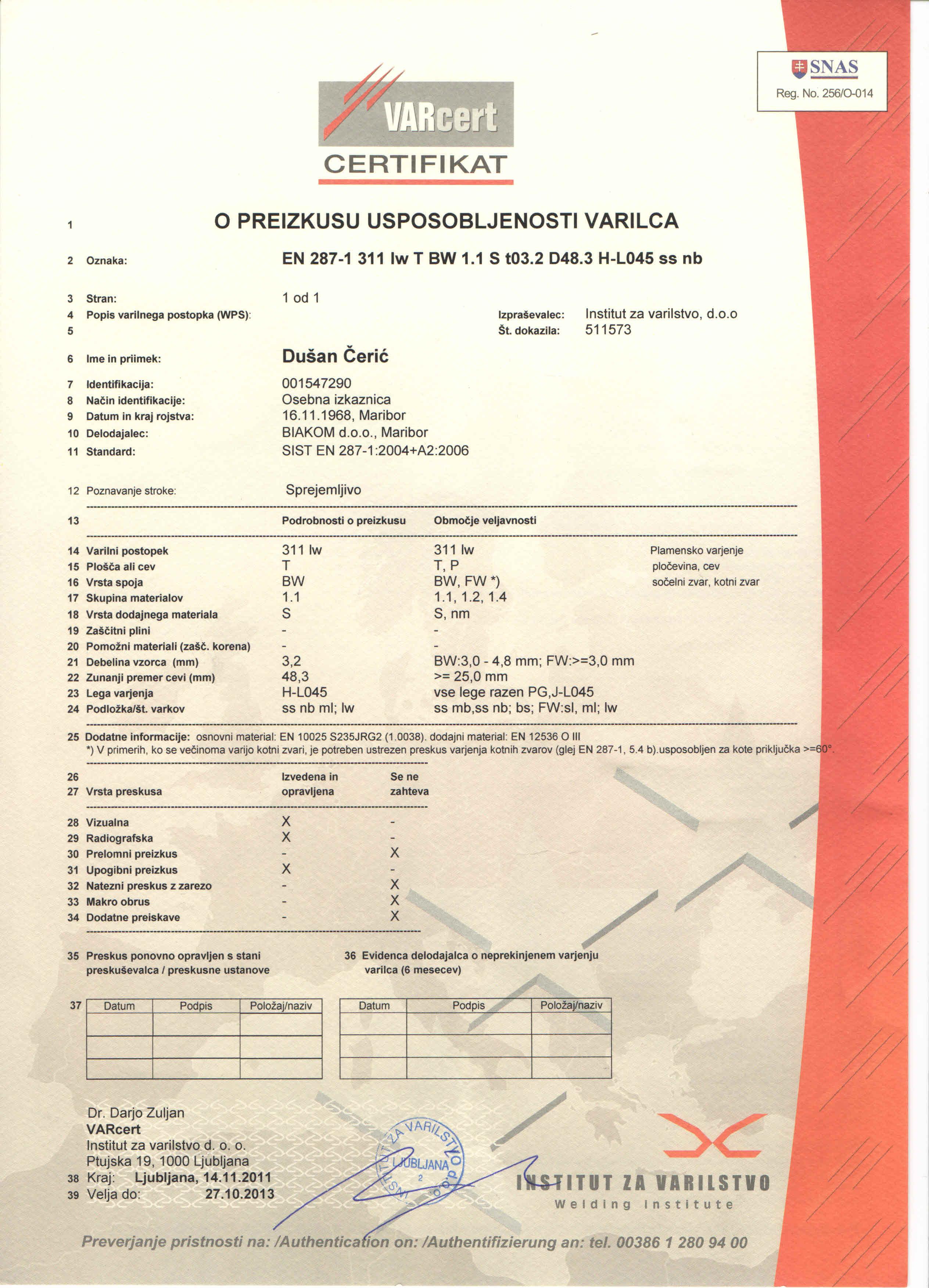 Varilni certifikat