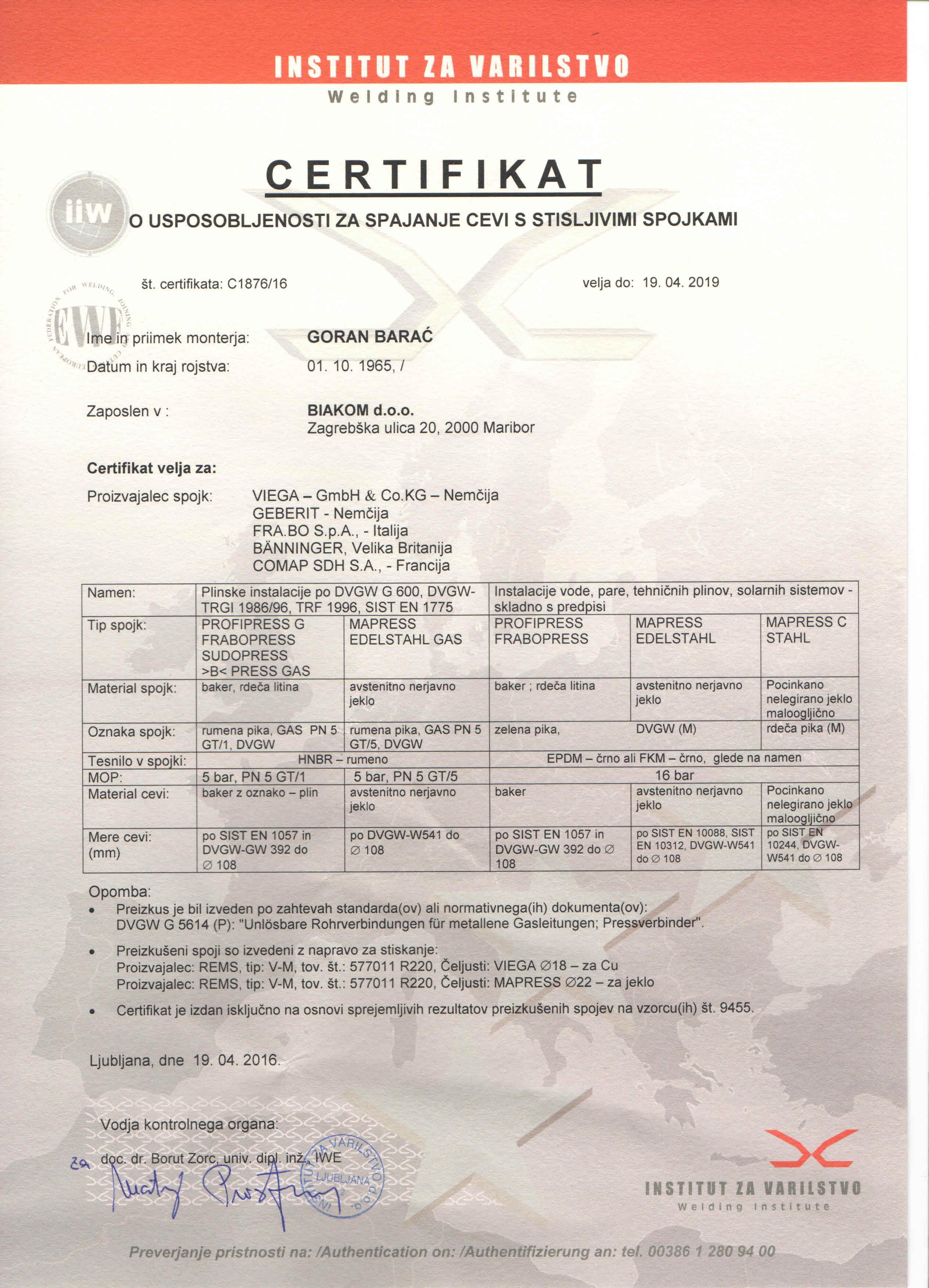 Certifikat za spajanje cevi s stisljivimi spojkami